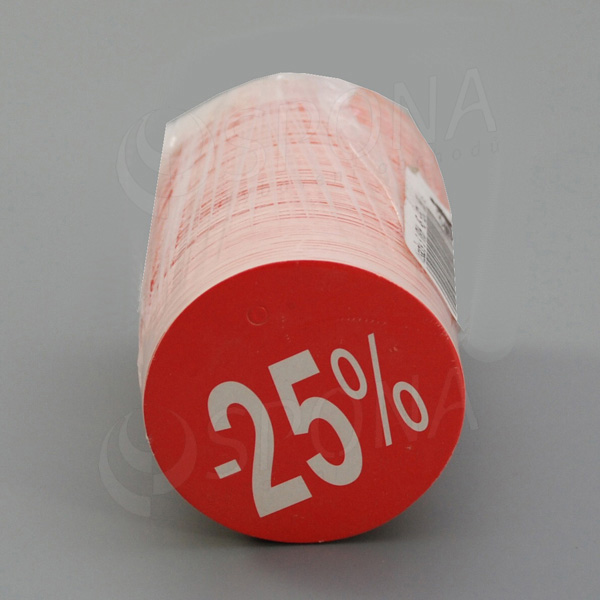 Visačky SKONTO KRUH 45, -25%, červené, 180 ks