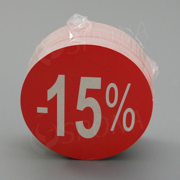 Visačky SKONTO KRUH 80, -15%, červené, 80 ks