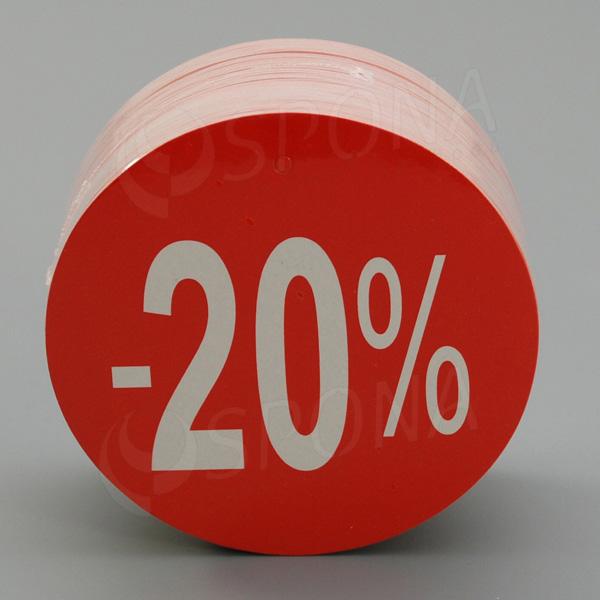 Visačky SKONTO KRUH 80, -20%, červené, 80 ks