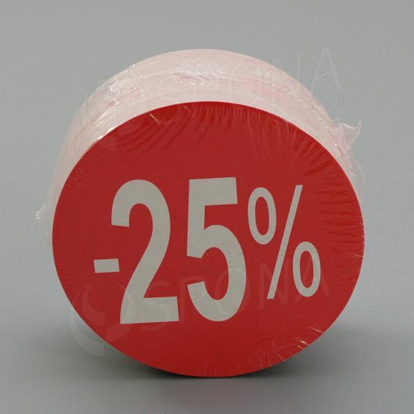 Visačky SKONTO KRUH 80, -25%, červené, 80 ks