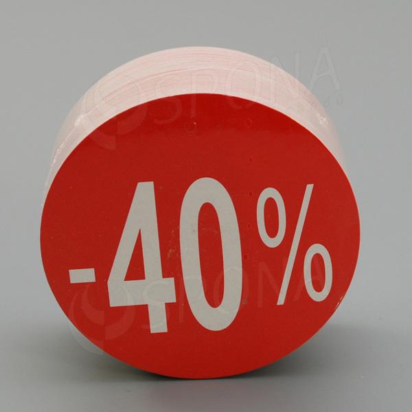 Visačky SKONTO KRUH 80, -40%, červené, 80 ks