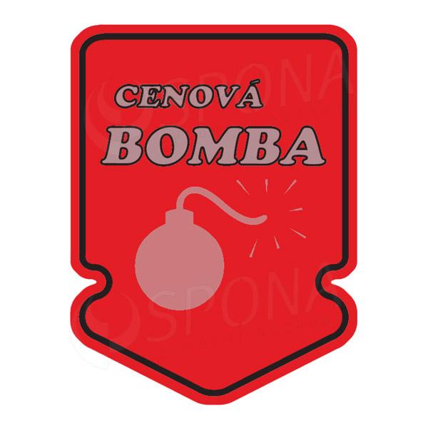 Visačky SKONTO ŠÍPKA 43 x 60, CENOVÁ BOMBA, červené, 250 ks
