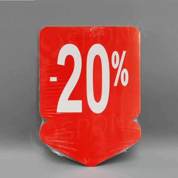 Visačky SKONTO ŠÍPKA 240 x 330, -20%, červené, 10 ks