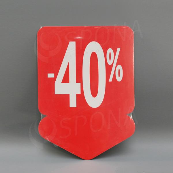Visačky SKONTO ŠÍPKA 240 x 330, -40%, červené, 10 ks