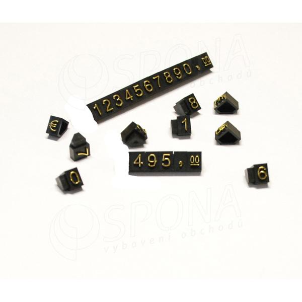 Cenovky Q 3D, 6 x 9 mm, sada 240 čísiel, + EUR zlatý prelis