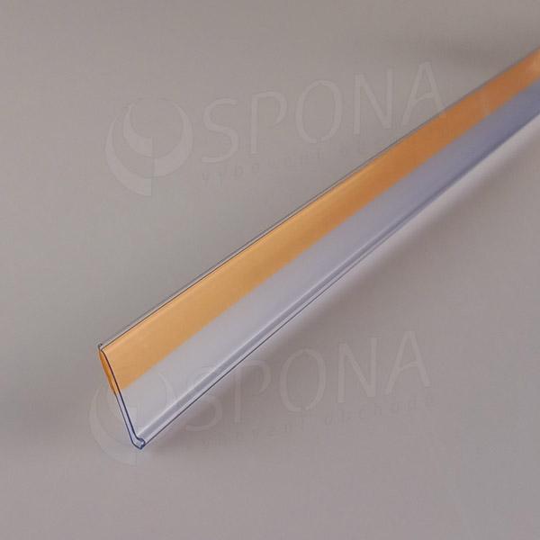 Cenovková lišta čelná 26 x 997 mm, samolepiaca, transparentná