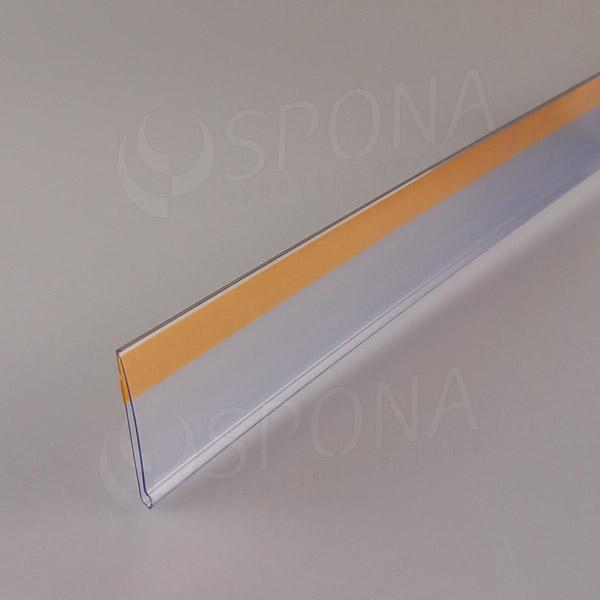 Cenovková lišta čelná 40 mm, 1 m, samolepiaca, transparentná