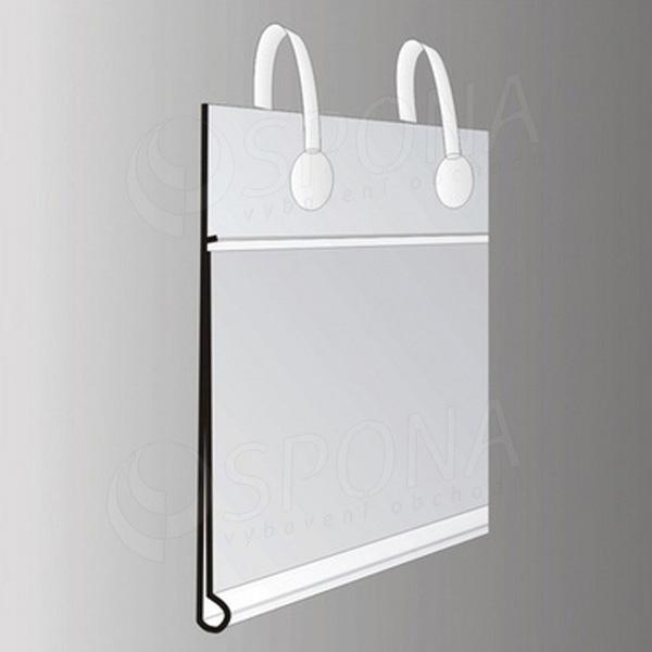 Cenovková lišta 40 x 70 mm, závesná s úchytmi, transparentná