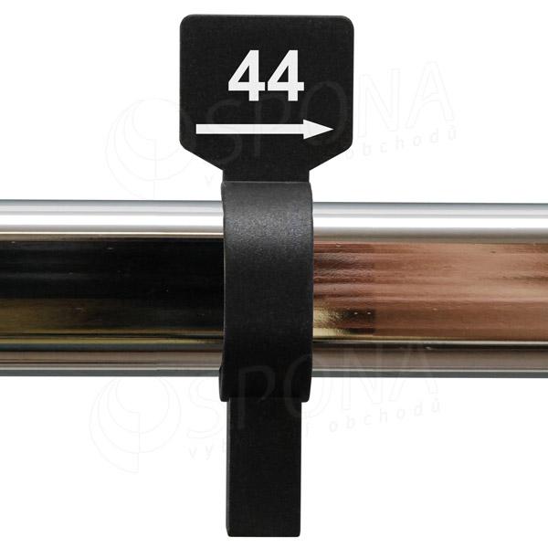 Veľkostný jazdec 44 čierny, biela potlač