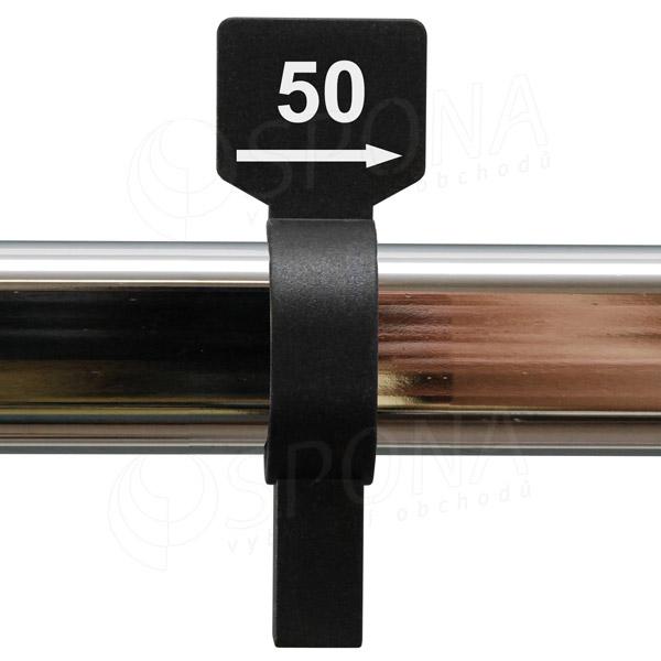 Veľkostný jazdec 50 čierny, biela potlač