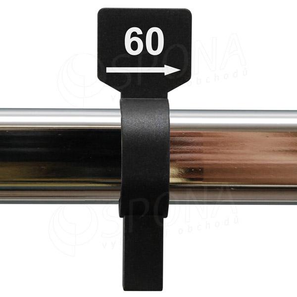 Veľkostný jazdec 60 čierny, biela tlač