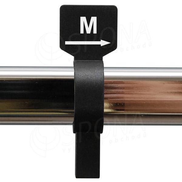 Veľkostný jazdec M čierny, biela potlač
