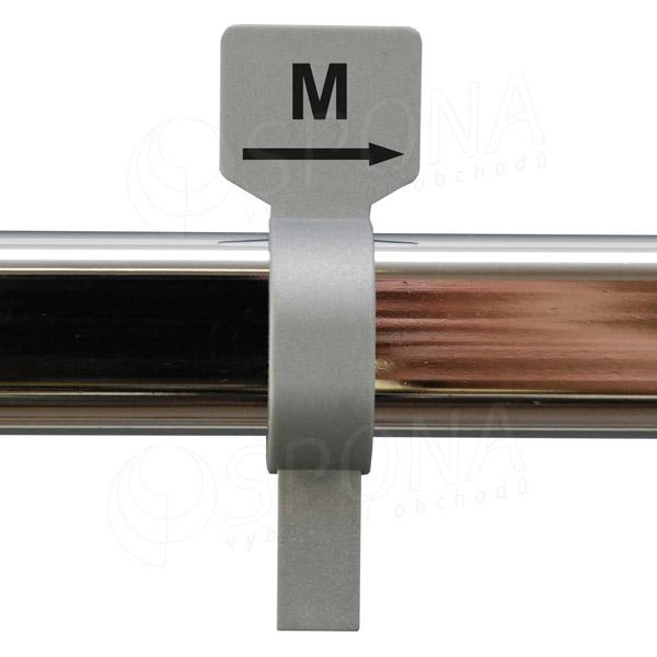 Veľkostný jazdec M strieborný, čierna tlač