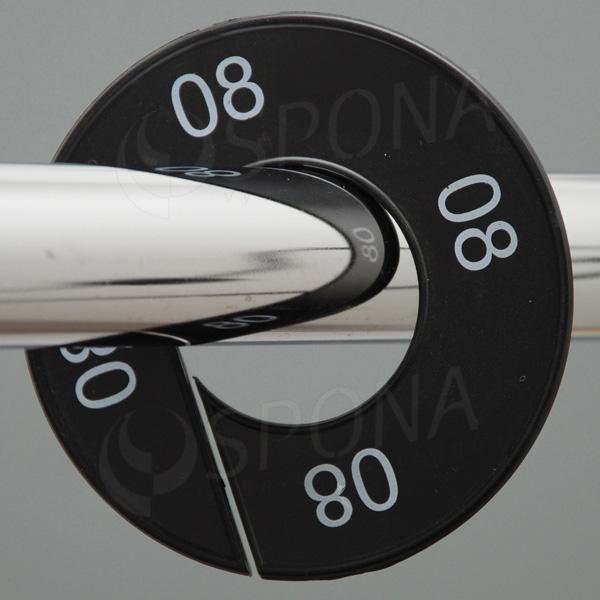 Veľkostné kruhy 08 čierne, biele písmo
