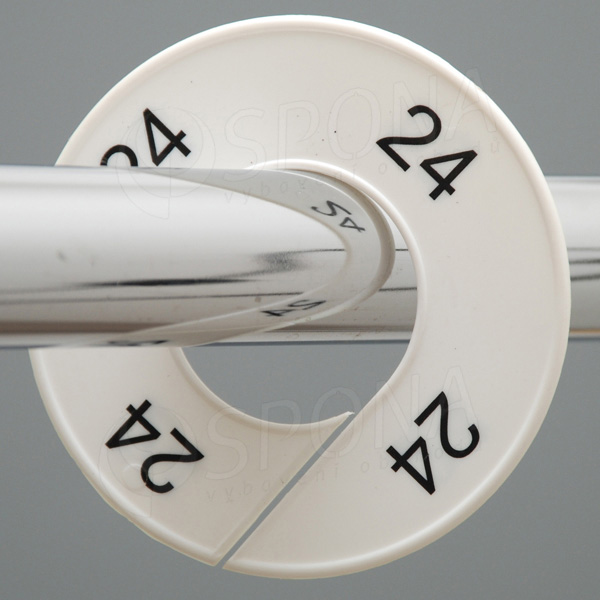 Veľkostné kruhy 24 biele, čierne písmo