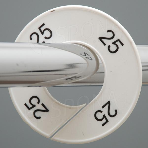 Veľkostné kruhy 25 biele, čierne písmo