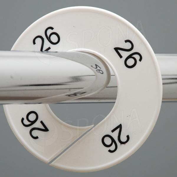 Veľkostné kruhy 26 biele, čierne písmo