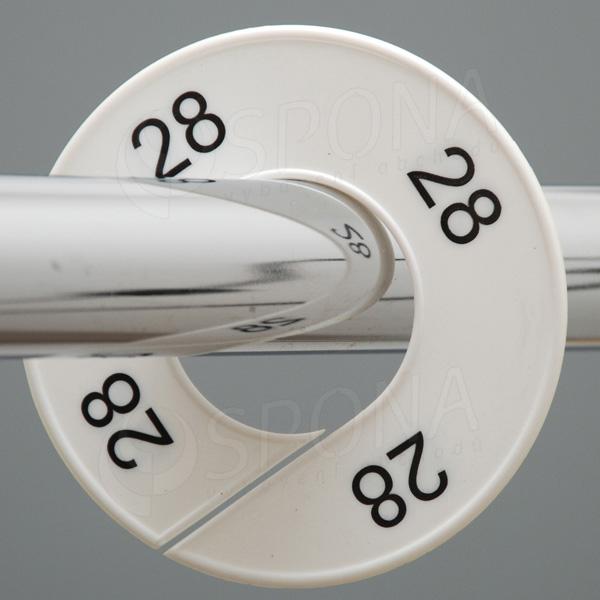 Veľkostné kruhy 28 biele, čierne písmo