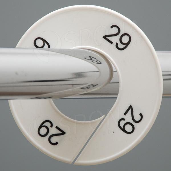 Veľkostné kruhy 29 biele, čierne písmo