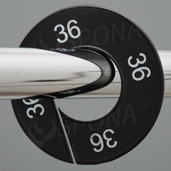 Veľkostné kruhy 36 čierne, biele písmo