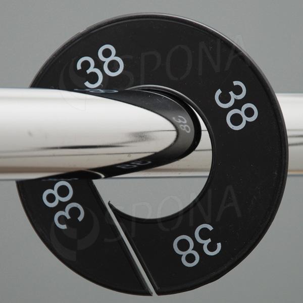 Veľkostné kruhy 38 čierne, biele písmo