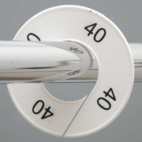 Veľkostné kruhy 40 biele, čierne písmo