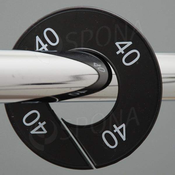 Veľkostné kruhy 40 čierne, biele písmo