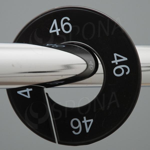 Veľkostné kruhy 46 čierne, biele písmo