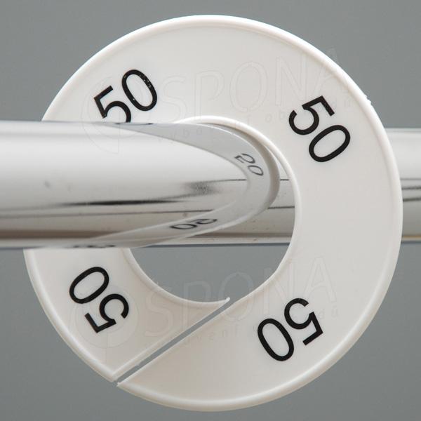 Veľkostné kruhy 50 biele, čierne písmo