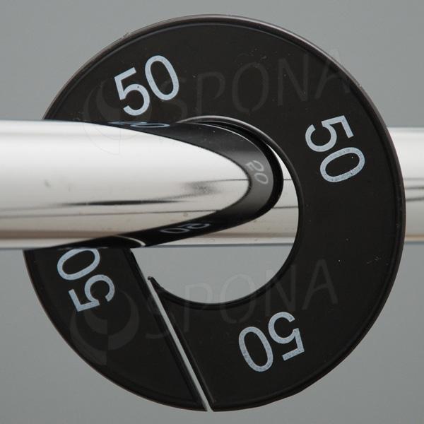Veľkostné kruhy 50 čierne, biele písmo