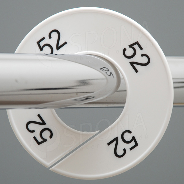 Veľkostné kruhy 52 biele, čierne písmo