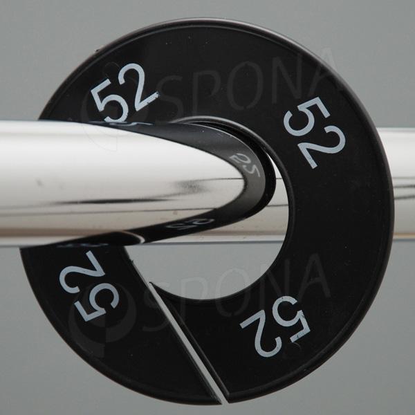 Veľkostné kruhy 52 čierne, biele písmo