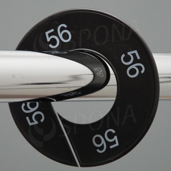 Veľkostné kruhy 56 čierne, biele písmo