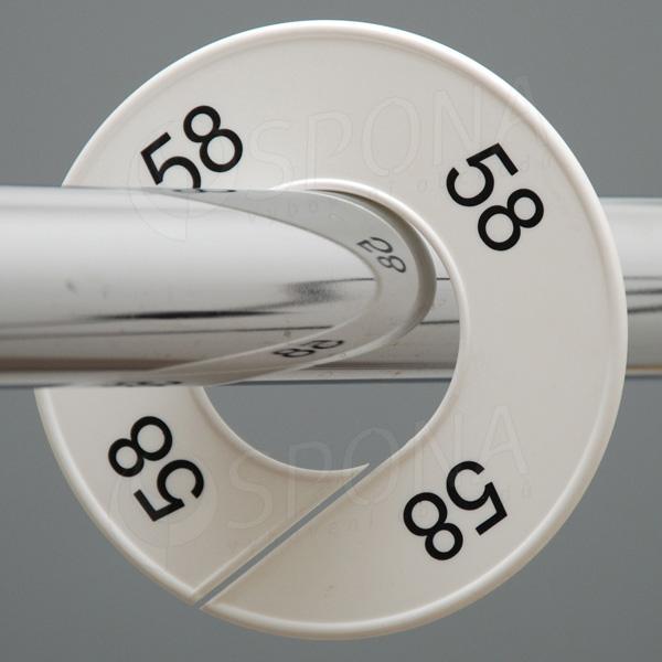 Veľkostné kruhy 58 biele, čierne písmo