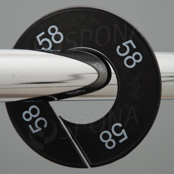 Veľkostné kruhy 58 čierne, biele písmo