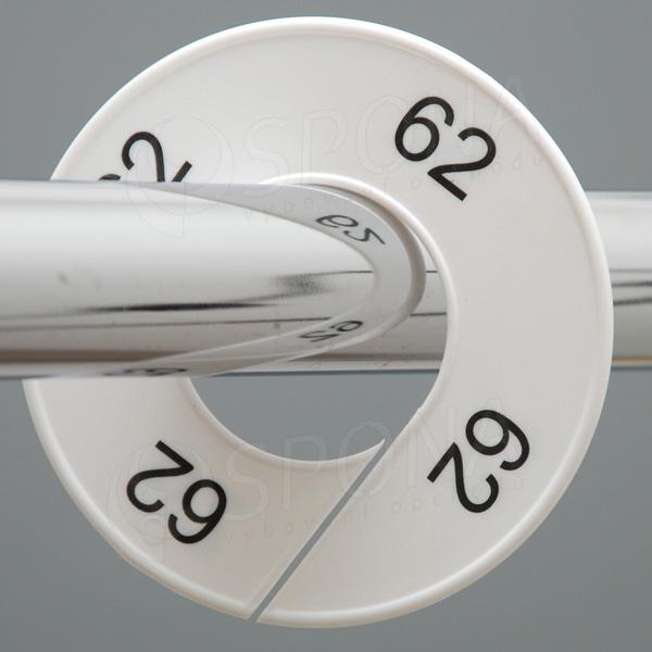 Veľkostné kruhy 62 biele, čierne písmo