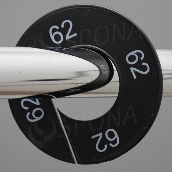 Veľkostné kruhy 62 čierne, biele písmo