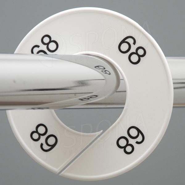 Veľkostné kruhy 68 biele, čierne písmo