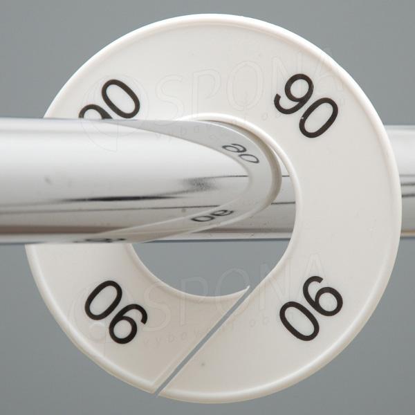 Veľkostné kruhy 90 biele, čierne písmo
