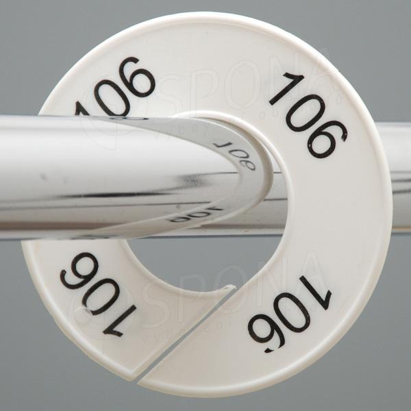 Veľkostné kruhy 106 biele, čierne písmo