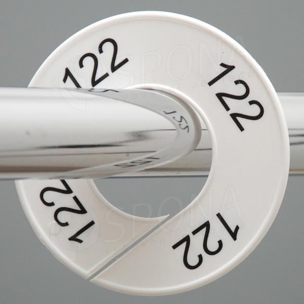 Veľkostné kruhy 122 biele, čierne písmo