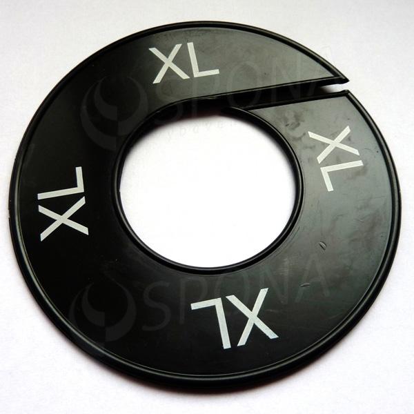 Veľkostné kruhy XL čierne, biele písmo