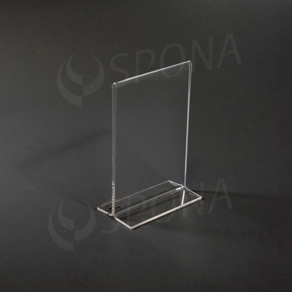 Plexisklový I stojanček A6 výška, 105 x 148 mm