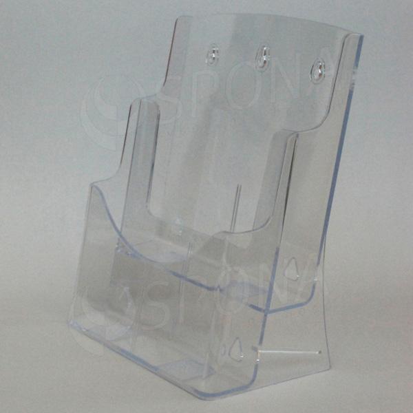 Reklamný dvojposchodový stojanček na prospekty A4 Letter, stojací a závesný, akrylát