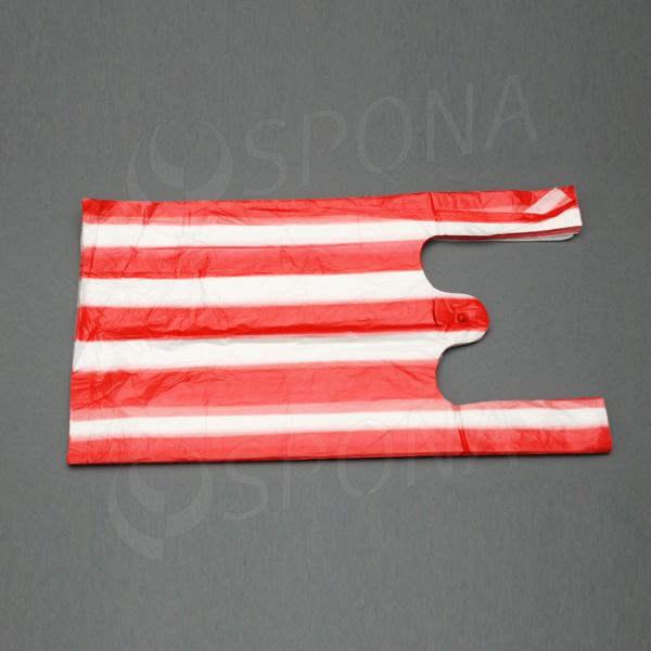 Taška 4 kg HDPE, červeno biela, 22 + 10 x 44 cm, červeno biela, 100 ks