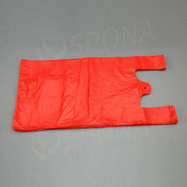 Mikroténová taška HDPE, nosnosť 15 kg, červená, 33 + 20 x 69 cm, 100 ks
