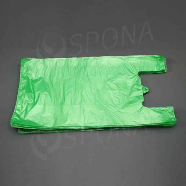 Mikroténová taška HDPE, nosnosť 15 kg, zelená, 33 + 20 x 69 cm, 100 ks