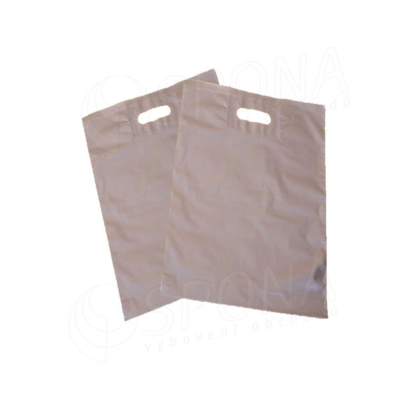 Igelitová taška LDPE, 20 x 30 + 5 strieborná