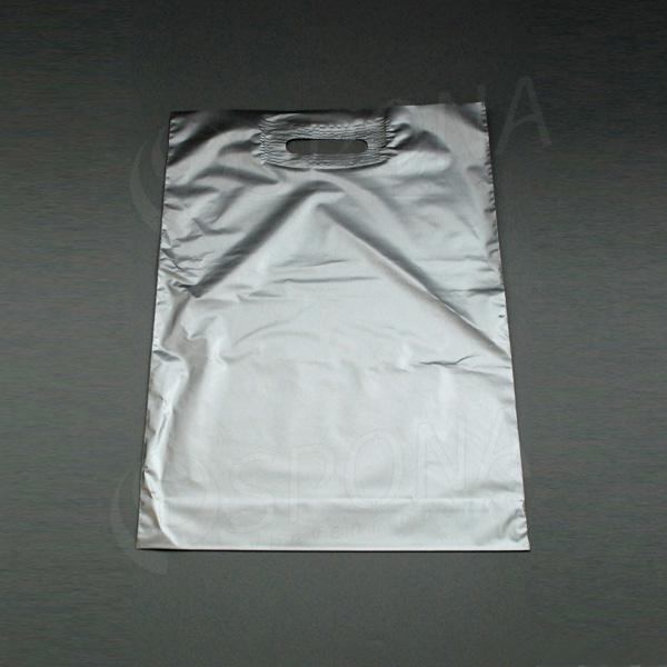 Igelitová taška LDPE, 35 x 50 + 5 cm, strieborná