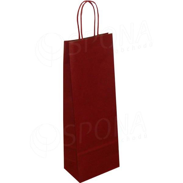 Taška papierová na víno 14+9+39 cm, 120 gr., tmavo červená